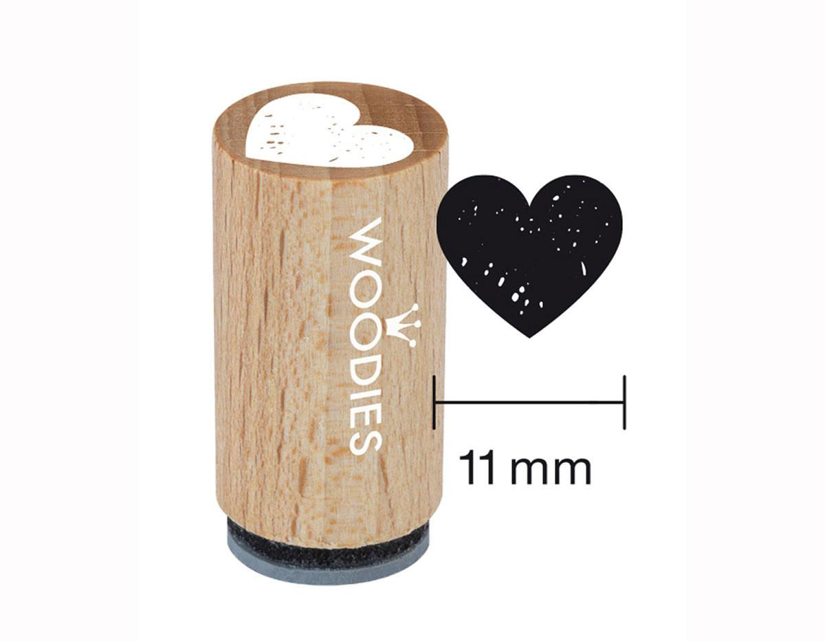 WM0401 Sello mini de madera y caucho corazon diam 15x25mm Woodies