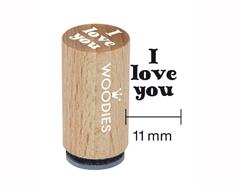 WM0402 Sello mini de madera y caucho I love you diam 15x25mm Woodies