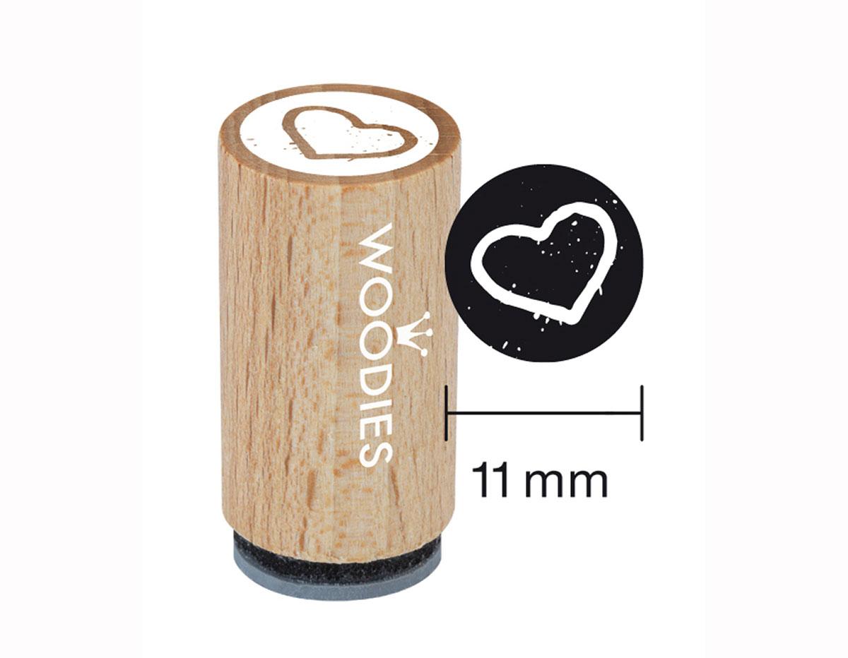 WM0404 Sello mini de madera y caucho corazon diam 15x25mm Woodies