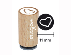 WM0404 Sello mini de madera y caucho corazon diam 15x25mm Woodies