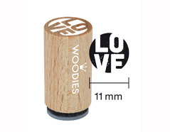WM0405 Sello mini de madera y caucho Love diam 15x25mm Woodies