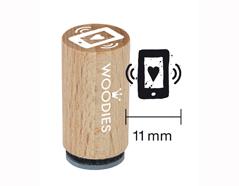 WM0408 Sello mini de madera y caucho movil diam 15x25mm Woodies - Ítem