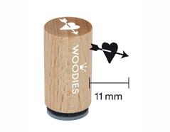 WM0409 Sello mini de madera y caucho corazon con flecha diam 15x25mm Woodies