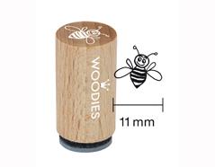 WM0501 Sello mini de madera y caucho abeja trabajadora diam 15x25mm Woodies