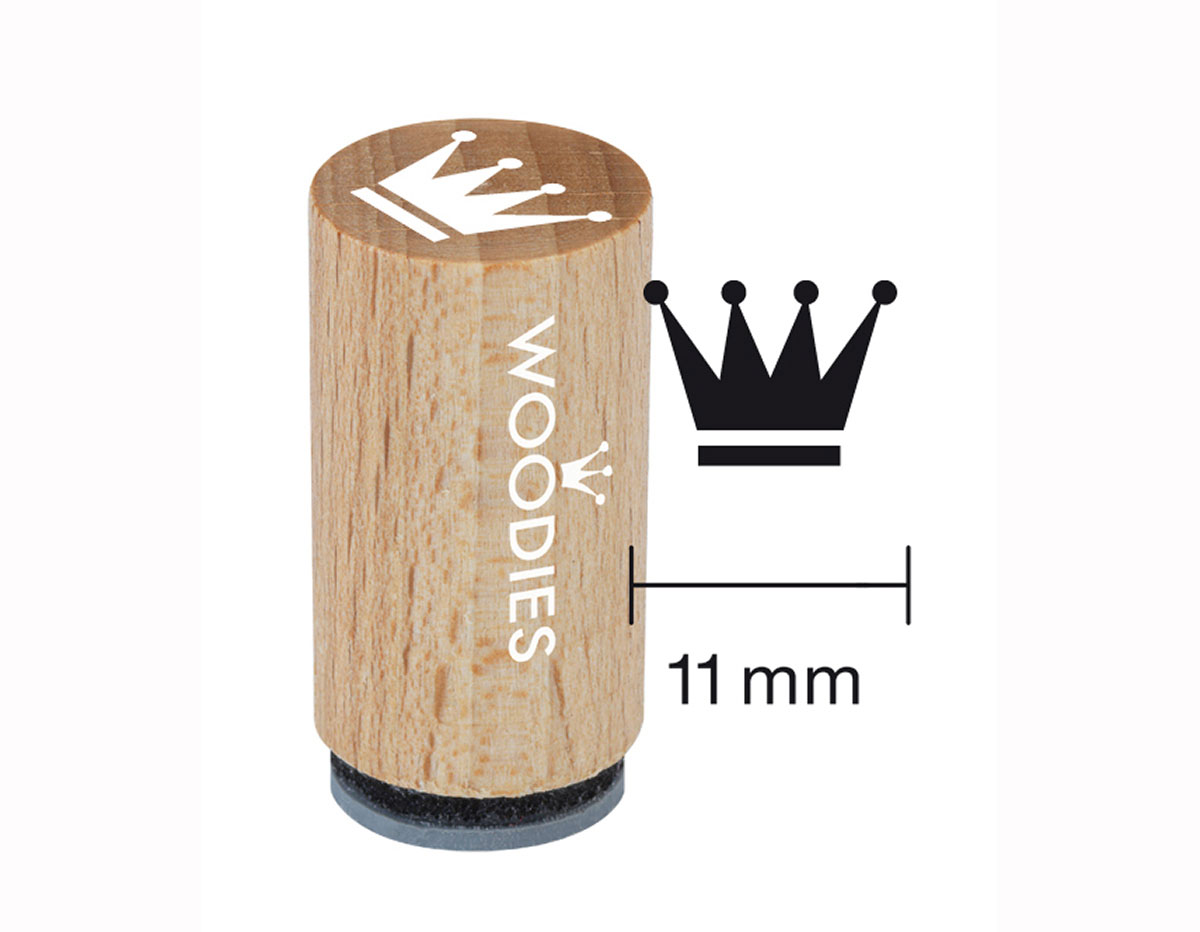 WM0506 Sello mini de madera y caucho corona diam 15x25mm Woodies