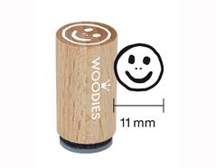 WM0507 Sello mini de madera y caucho cara sonriente bien diam 15x25mm Woodies