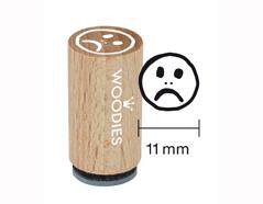 WM0509 Sello mini de madera y caucho cara triste mal diam 15x25mm Woodies
