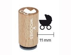 WM0603 Sello mini de madera y caucho carrito para bebe diam 15x25mm Woodies