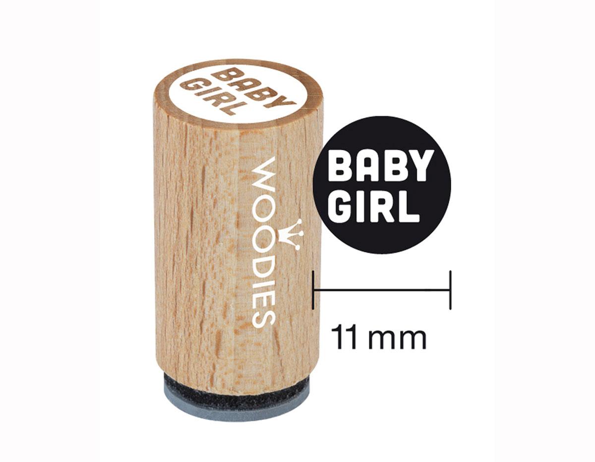 WM0607 Sello mini de madera y caucho Baby girl diam 15x25mm Woodies