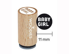 WM0607 Sello mini de madera y caucho Baby girl diam 15x25mm Woodies