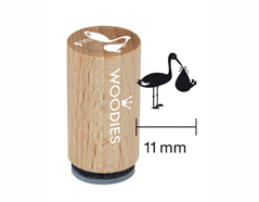 WM0608 Sello mini de madera y caucho ciguena con bebe diam 15x25mm Woodies