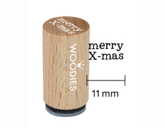 WM0703 Sello mini de madera y caucho Merry x-mas diam 15x25mm Woodies
