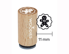 WM0704 Sello mini de madera y caucho galleta de jengibre diam 15x25mm Woodies