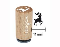 WM0705 Sello mini de madera y caucho ciervo diam 15x25mm Woodies