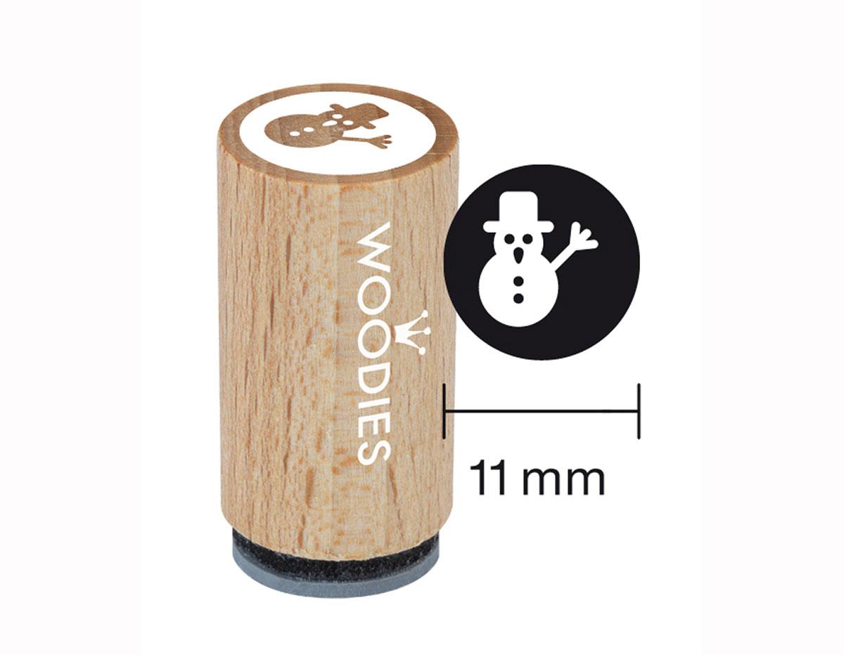WM0706 Sello mini de madera y caucho muneco de nieve diam 15x25mm Woodies