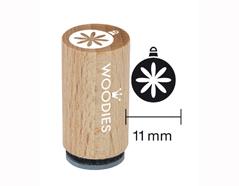 WM0708 Sello mini de madera y caucho bola de navidad diam 15x25mm Woodies