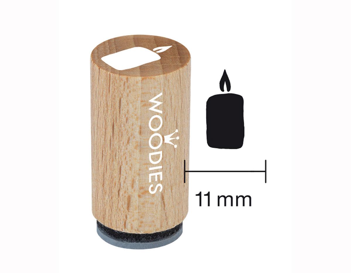 WM0709 Sello mini de madera y caucho vela diam 15x25mm Woodies
