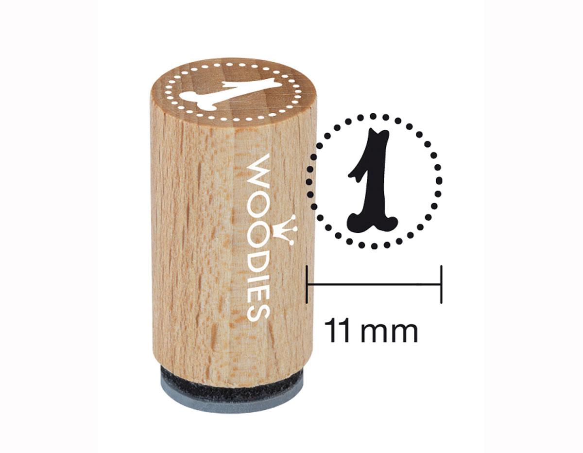 WM0801 Sello mini de madera y caucho numero 1 diam 15x25mm Woodies