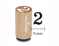 WM0802 Sello mini de madera y caucho numero 2 diam 15x25mm Woodies