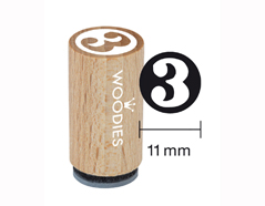 WM0803 Sello mini de madera y caucho numero 3 diam 15x25mm Woodies