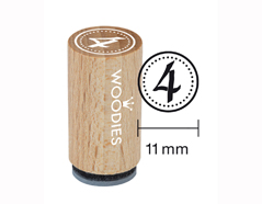 WM0804 Sello mini de madera y caucho numero 4 diam 15x25mm Woodies