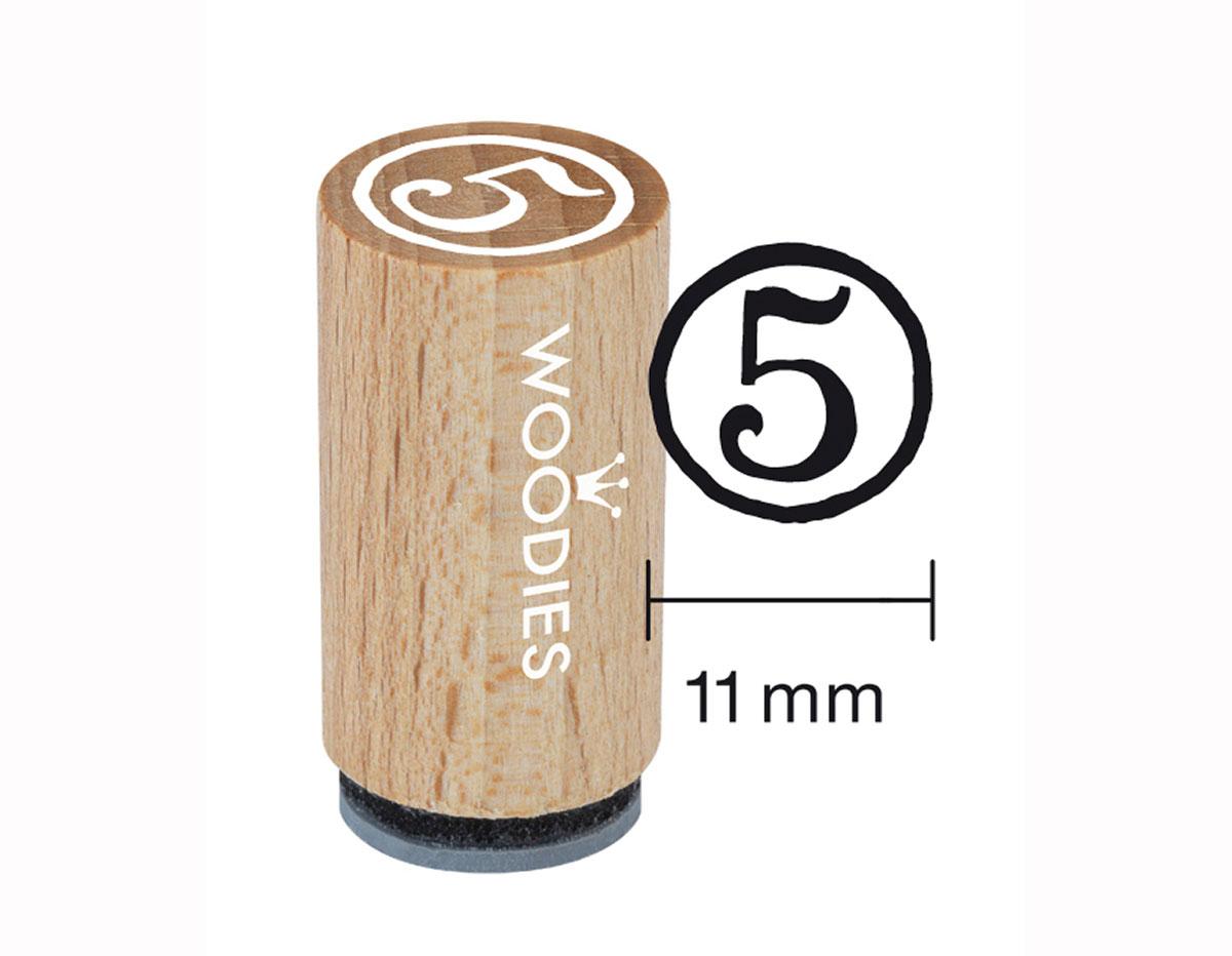 WM0805 Sello mini de madera y caucho numero 5 diam 15x25mm Woodies
