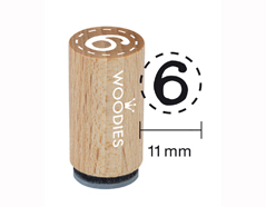 WM0806 Sello mini de madera y caucho numero 6 o 9 diam 15x25mm Woodies