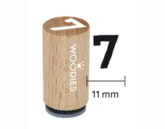 WM0807 Sello mini de madera y caucho numero 7 diam 15x25mm Woodies