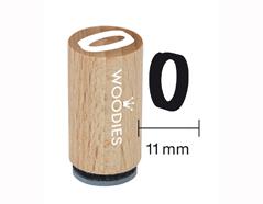 WM0809 Sello mini de madera y caucho numero 0 diam 15x25mm Woodies
