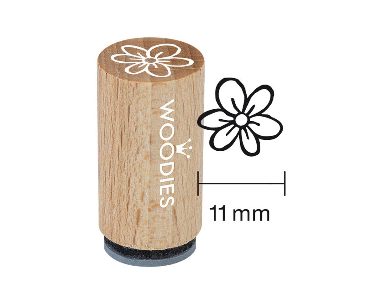 WM1101 Sello mini de madera y caucho margarita diam 15x25mm Woodies
