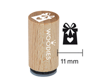 WM1105 Sello mini de madera y caucho regalo corazon diam 15x25mm Woodies