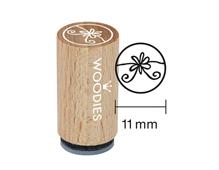 WM1106 Sello mini de madera y caucho flor diam 15x25mm Woodies