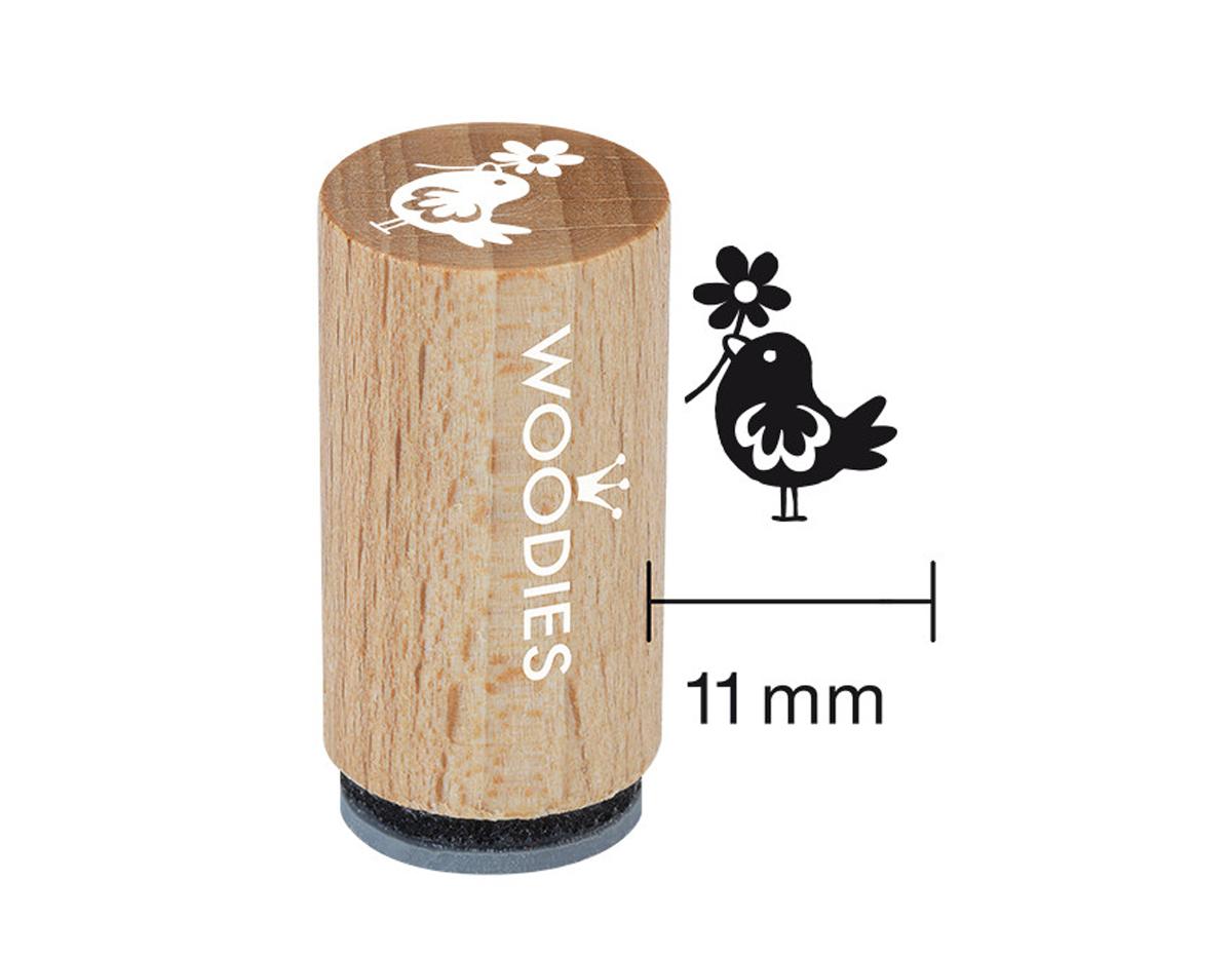 WM1108 Sello mini de madera y caucho pajaro con flor diam 15x25mm Woodies