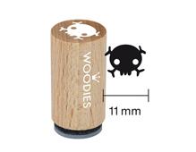 WM1201 Sello mini de madera y caucho calavera diam 15x25mm Woodies