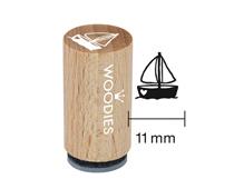 WM1203 Sello mini de madera y caucho velero diam 15x25mm Woodies