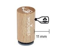 WM1204 Sello mini de madera y caucho mensaje en una botella diam 15x25mm Woodies