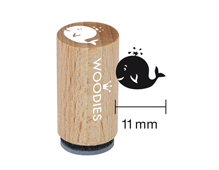 WM1205 Sello mini de madera y caucho ballena diam 15x25mm Woodies