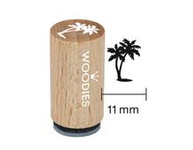 WM1206 Sello mini de madera y caucho palmera diam 15x25mm Woodies
