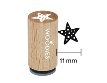 WM1207 Sello mini de madera y caucho estrella de mar diam 15x25mm Woodies