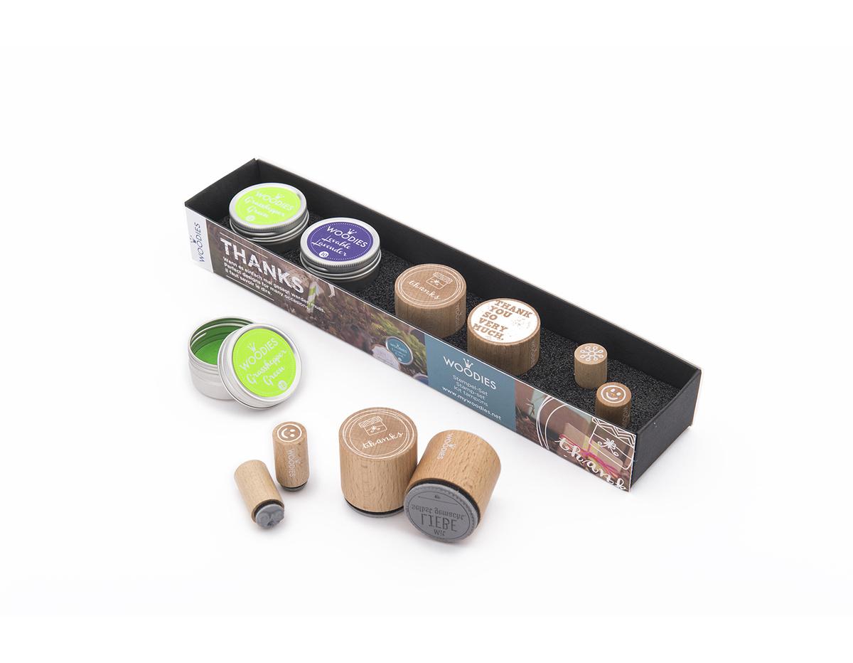 WS0001E Set sellos de madera y caucho GRACIAS 2 Woodies 2 Mini-Woodies 2 tintas Woodies
