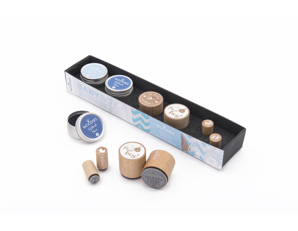 WS0003E Set sellos de madera y caucho NINO 2 Woodies 2 Mini-Woodies 2 tintas Woodies