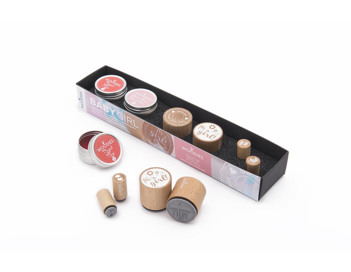 WS0008E Set sellos de madera y caucho NINA 2 Woodies 2 Mini-Woodies 2 tintas Woodies
