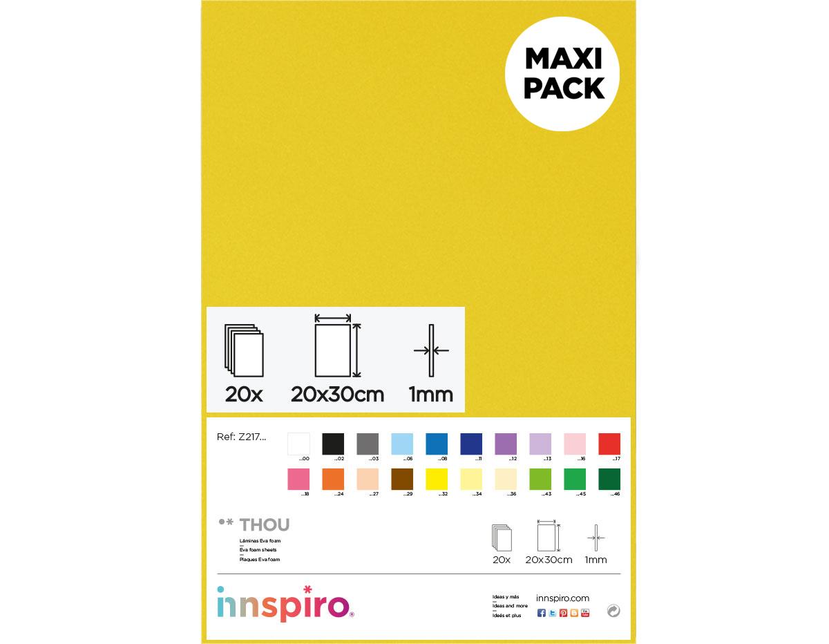 Z21734 Goma eva amarillo claro 20x30cm 1mm 20u Innspiro