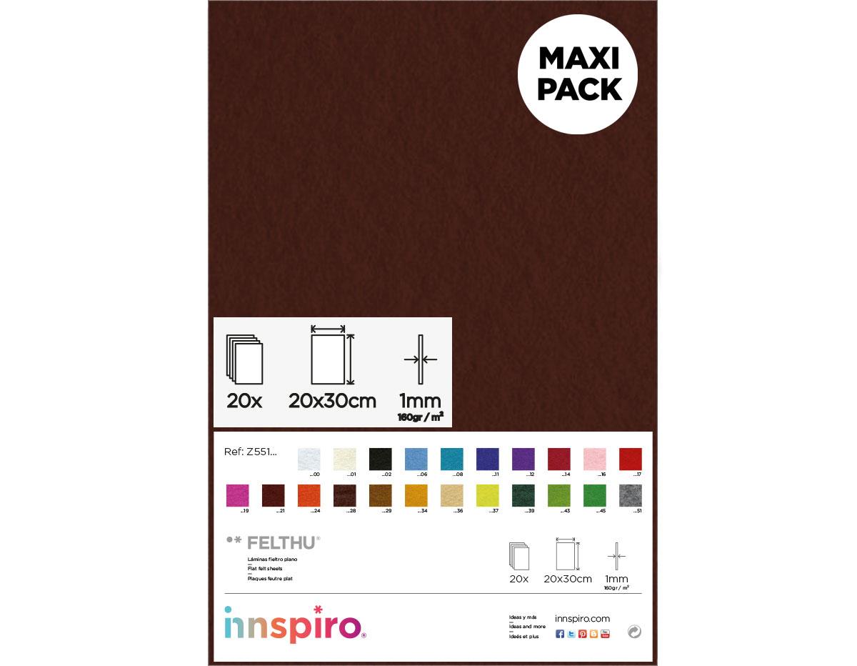 Z55128 Fieltro acrilico chocolate 20x30cm 1mm 20u Innspiro