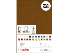 Z55129 Fieltro acrilico marron 20x30cm 1mm 20u Felthu