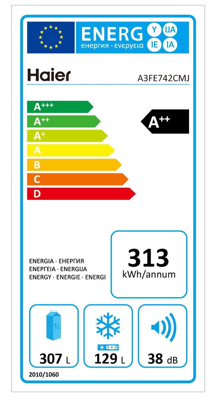 FRIGORIFICO COMBI ANCHO 70cm A++ HAIER A3FE742CMJ