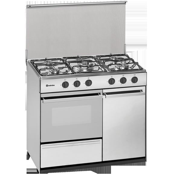 Cocina gas butano con portabombona acero inox meireles g for Outlet cocinas a gas