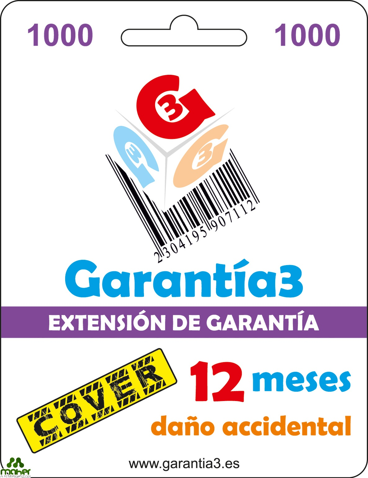 EXTENSION GARANTIA 12 MESES PARA DAÑO ACCIDENTAL 1000€