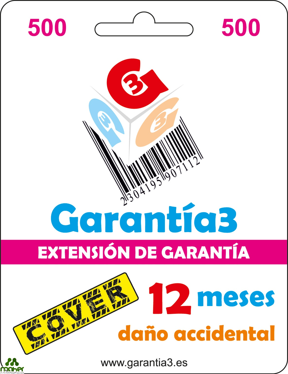 EXTENSION GARANTIA 12 MESES PARA DAÑO ACCIDENTAL 500€