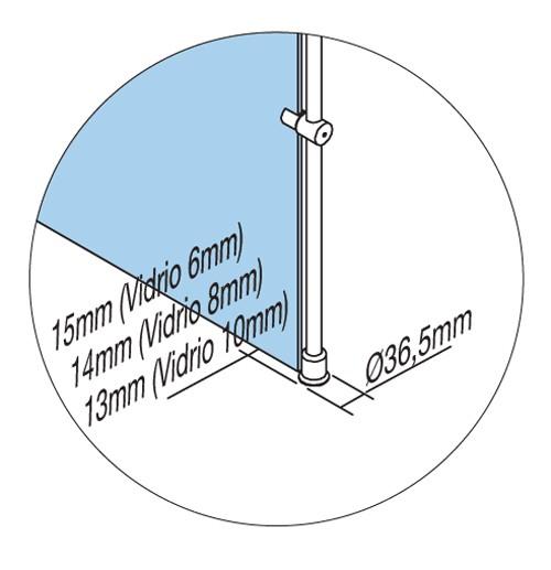 Mampara fija barra suelo - techo de Profiltek - Ítem1